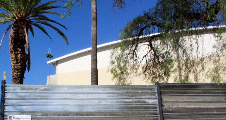 Traditional and contemporary: Roof-wetting of our new sports gym